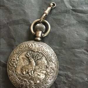 Sears Swiss made pocket watch VTG hunters floral